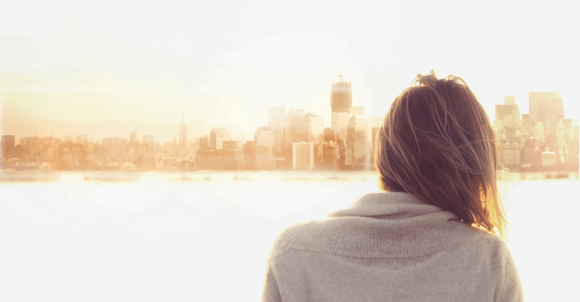 Girl and background city